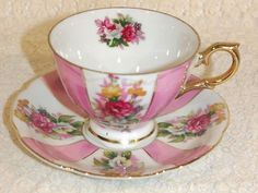 Vintage Iridescent Footed Cup & Scalloped Saucer with Pink Roses Flowers Gold Trim