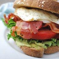 BLEAT Bacon, lettuce, egg, avocado, tomato sandwich!! :3