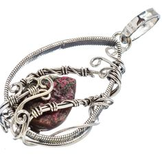 """Rough Russian Eudialyte 925 Sterling Silver Pendant 2"""" PD563896"""