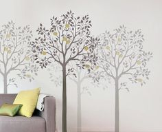 Stencil decor in multiple shades to create depth.