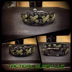 Paracord criss crossed bracelet with adjustable shackle on Etsy, $20.00