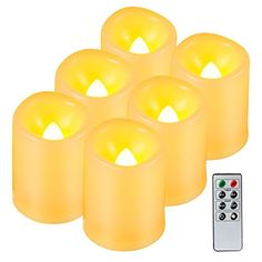 awesome Kohree Realistic Battery-Powered Flameless Pillar Candles - Unscented Ivory Votive LED Candles with Remote Control & Timer, Batteries Included- 6 Pack