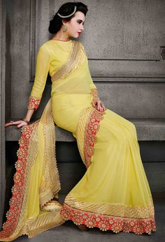 #Yellow #Chiffon #Designer #Saree #nikvik #usa #designer #australia #canada #freeshipping #yellowsari