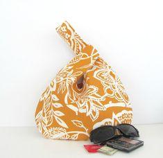 Bolso de mano monedero punto / Crochet bolso de nudo japonés, cierre de naranja de sorbete y crema Floral lienzo bolsa pañalera