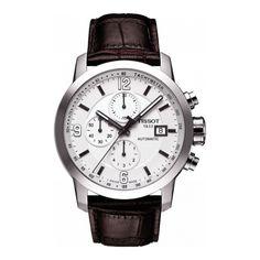 Reloj cronógrafo automático de caballero Tissot, colección PRC 200, caja de acero combinada mate/brillo, correa de piel marrón, esfera blanca, cristal zafiro y sumergible a 20 atm.