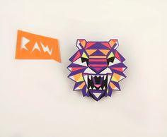 Tiger Head Brooch - Geometric Neon Hand Painted. £18.50, via Etsy.