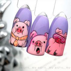 Disney Acrylic Nails, Simple Acrylic Nails, Almond Acrylic Nails, Disney Nails, Best Acrylic Nails, Pig Nails, Nail Drawing, Animal Nail Art, Cute Acrylic Nail Designs