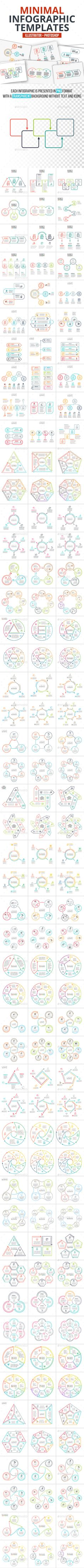 Minimal Infographics Pack - Templates PSD, Transparent PNG, Vector EPS, AI Illustrator