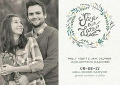 save the date wreath card with photo #wedding #savethedate #zoggin