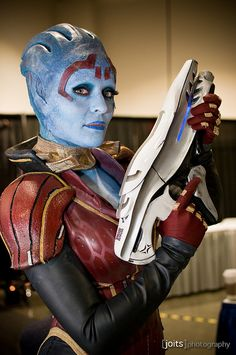 Samara from Mass Effect. The person wearing it is Rana, the actual face model for Samara and Morinth.