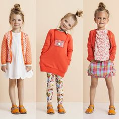 """Oilily is Orange (and a rainbow of other brights) in their Spring/Summer 2015 collection. And how cute are these messy high buns?! …"""