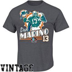 Dan Marino Miami Dolphins Hall of Fame Retro Action T-Shirt - Ash