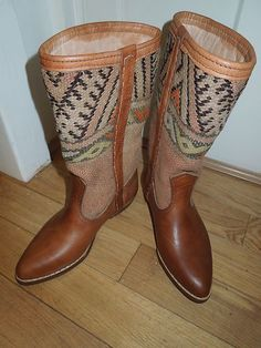 Distressed leather and vintage kilim boots