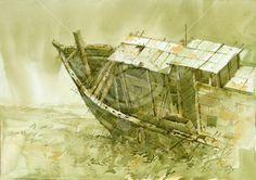 "Art of the day, ""Boat At Rest"" by Sachin Naik  ""Old boat lying along the sea shore at Revdanda beach"" http://buff.ly/1ONleZd #Artsmelange #ArtmeetsArtHere"