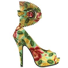 Show Story Green Multi Color Floral Peeptoe Gladiator Platform Stiletto Sale:$23.17 - $34.99