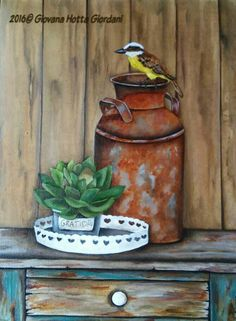 Garden Painting, Painting On Wood, Bucket Drawing, Insect Repellent Spray, Arte Country, Country Paintings, Painting Patterns, Decoupage, Animal Paintings