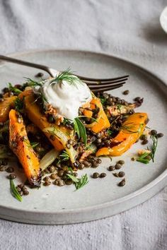 Lentil, roast butternut squash and fennel salad
