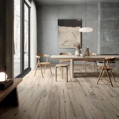 NORDIK WOOD: collection in wood-effect porcelain stoneware Parquet Flooring, Dining Room Design, Tile Floor, Tiles, Dining Table, Room Decor, Wood, Furniture, Portobello