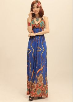 Bohemia Style Printed Off the Shoulder Maxi Dress