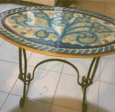 Ferforje ayaklı boyutlu boya mozaik sehpa