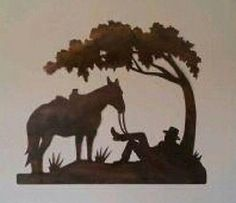 Rustic Cowboy and Horse under tree - Western Metal Wall Art Original Home Decor