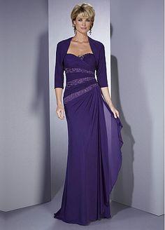 Elegant Chiffon Sheath Strapless Sweetheart Neckline Full Length Mother Dress With 3/4 Sleeves Jacket
