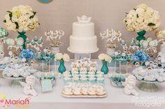 Batizado azul e branco | Decoração para batizado | Batizado menino | Consagração | Decoração by Mariah festas #batizado #batizadomenino #mariahfestas