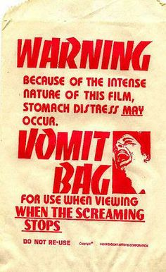 """Another barf bag from """"When The Screaming Stops"""" (1973)."""