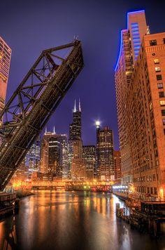Kinzie Street Bridge, Chicago, Illinois. favorite view of the city.