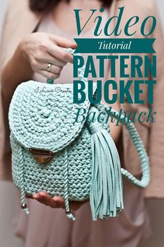 """Video master class """"Bucket Backpack"""" Complete and detailed video-description of the whole backpack creating process. The scheme for creating a backpack is not heavy and is detailed in the video. Even a beginner can cope. Stages of master class: - how to crochet the bottom of the"""