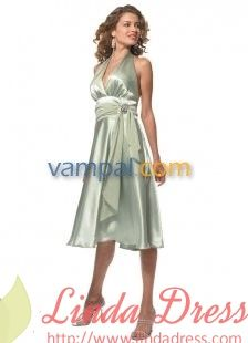 Show details for Sage Green Satin Tea Length Halter Homecoming Dress