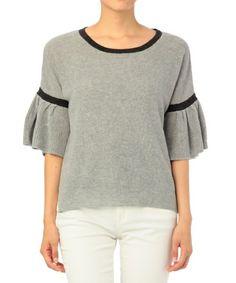 INDEX(インデックス)の袖フレアコットンプルオーバーニット(ニット・セーター)|グレー