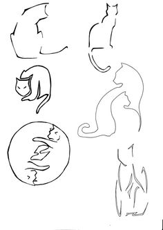 line drawing two cats - Google Search
