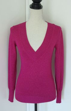 Express Magenta Pink Metallic Deep V Neck Sweater XS Womens Stretch Sexy Holiday #Express #VNeck #Work
