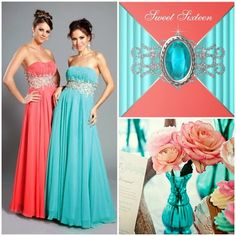 Coral and Aqua Sweet Fifteen Theme #quinceanera