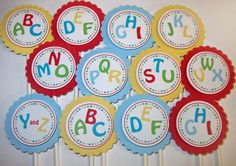 Cupcake toppers - alphabet shower