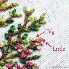 CHANGING THE SIZE OF FRENCH KNOTS -For plumper knots, use a plumper Milliners Needle! Hand Embroidered Blooming Tree with French Knot blossoms