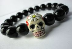 """""""PASSION for LIFE"""" Day of the Dead Sugar Skull and Black Obsidian Bracelet."""
