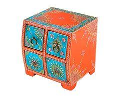 Joyero en madera de paulonia - azul y naranja
