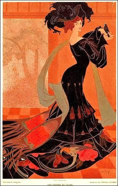 Woman in Flowing Dress Holding a Bird Georges de Feure