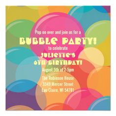 Colorful Bubble Party Birthday Invitation