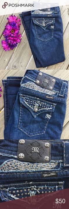 Like New Miss Me jean capris Sz. 30 beaded trim This is a pair of gorgeous like new Miss Me jean capris! They show no signs of wear at all. Size 30. Style JE5086P Designed exclusively for the Buckle. Miss Me Jeans