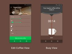 Collaboration with Guus Apeldoorn. UI design + icon for a smart coffee maker companion app. The first version of this concept can be found here. Foam Cups, Game Ui, Material Design, Icon Design, Coffee Maker, Concept, Rpg, Coffee Maker Machine, Coffee Percolator
