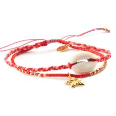 Starfish and Shell Vermillion Bracelet on Malaga Cord