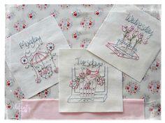 Days of the week stitchery patterns by Jenny of Elefantz www.elefantz.com