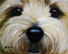 """""""Drip"""" (Westie West Highland Terrier) Print of Original Oil Painting Add a little Westie Whimsy to your walls! Printed on Unstretched Canvas OR Heavy weight water color paper Each Print has a white border around it so that it can be mounted on a panel or stretcher bars for framing OR can be framed as is in a regular frame with matt and glass. Any Canvas Print is also available on heavyweight paper direct from the artist in 8x10 or smaller and signed. (canvas prints and needlepoints are…"""