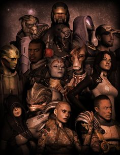 Mass Effect 2 Squad. My peeps, kickin' ass and takin' names. Mass Effect Pc, Mass Effect Universe, Character Creation, Game Character, Bioware Games, Miranda Lawson, Commander Shepard, Critical Role Fan Art, Alien Creatures