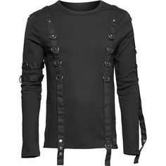 Black gothic mens long-sleeve shirt by Queen of Darkness, with fetish inspired details, metal d-rings and straps.