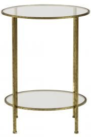 Bella Glass End Table $119 Hand-painted aged gold finish. Two tiers of tempered glass.