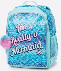 Justice Girls Backpack I m Really A Mermaid Blue 2 In 1 Reversible New  Bookbag   eBay 5a09d41021